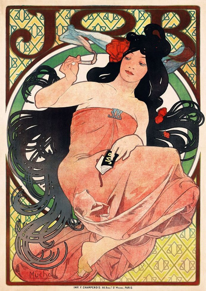 Art Nouveau Job Cigarette Rolling Papers Advertisement by Alfonse Mucha (1898) Print/Poster (4814)
